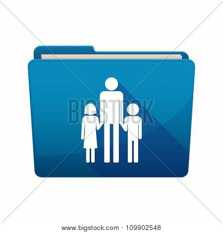 Long Shadow  Binder With  A Male Single Parent Family Pictogram