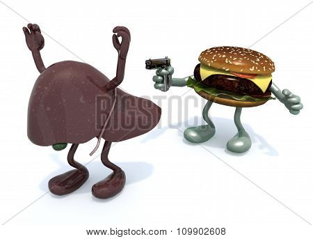Hamburger With Arms Wielding Gun To The Human Liver