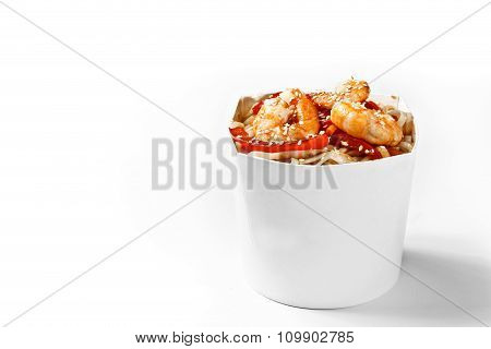 Delicious Seafood Wok Noodles Box With Shrimps And Udon. Chinese And Asian Takeaway Fast Food. Studi
