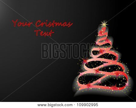 Glowing Christmas Tree On A Black Background
