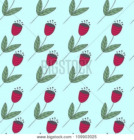 Cute Bellflowers Seamless Pattern. Vintage Background. Red Flat Flowers. Floral Texture.