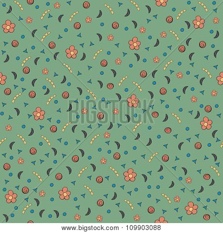 Cute Tiny Flowers And Elements. Seamless Pattern. Vintage Green Background. Floral Texture.