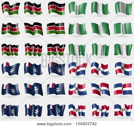 Kenya, Nigeria, French And Antarctic, Dominican Republic. Set Of 36 Flags Of The Countries Of The