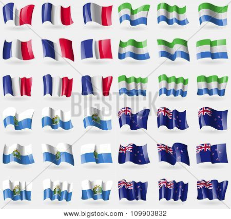 France, Sierra Leone, San Marino, New Zeland. Set Of 36 Flags Of The Countries Of The World.