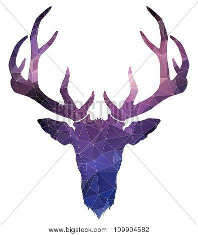 Christmas deer. triangle style illustration