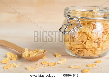 Cereal Cornflakes In The Glass Jar