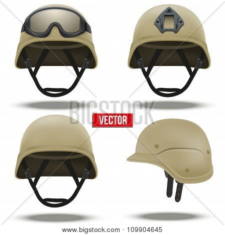 Set of Military tactical helmets desert color