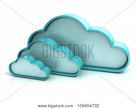 Clouds 3D computer icon
