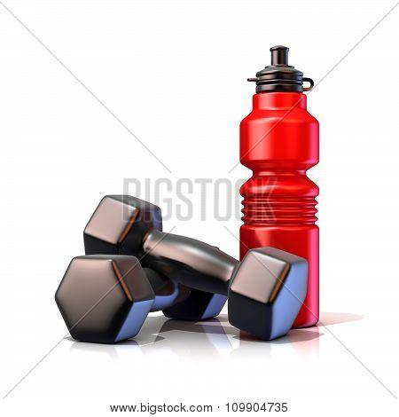 Red plastic sport bottles and black weights. 3D render