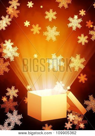 Vertical Christmas background with magic box and snowflakes
