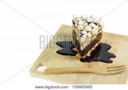 Chocolate Cake With Biscuit And Banana Stuffed Isolate
