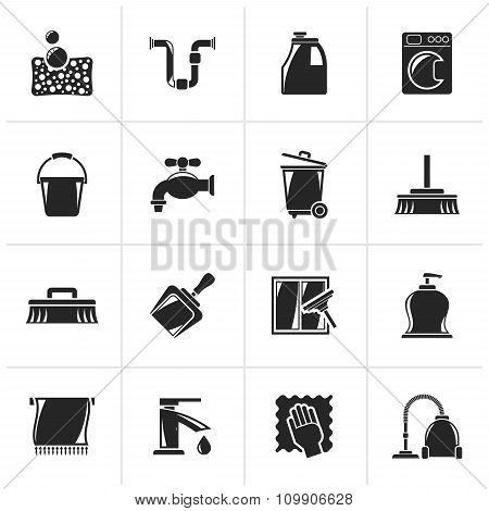 Black Cleaning and hygiene icons
