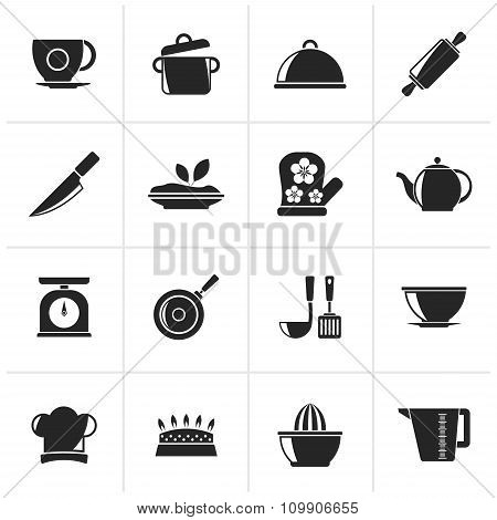 Black Restaurant and kitchen items icons