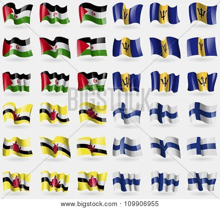 Western Sahara, Barbados, Brunei, Finland. Set Of 36 Flags Of The Countries Of The World.