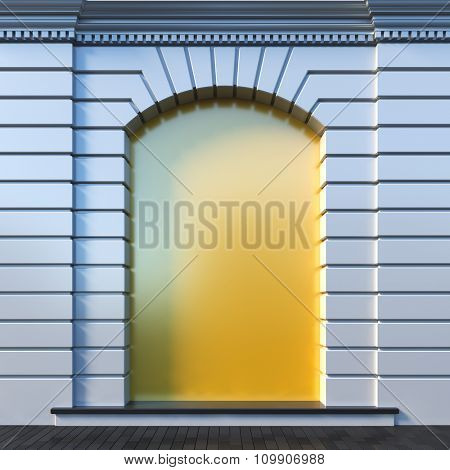 A 3d render illustration blank template layout of clear niche at a wall. Niche surface empty to place poster, image, picture, text or logo.