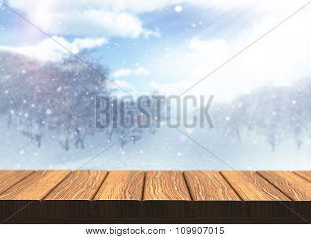 3D render of a wooden table with defocussed snowy landscape