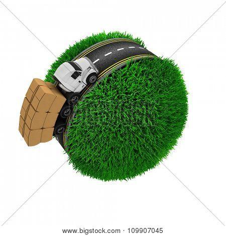 3D Render of Road around a grassy globe