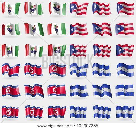 Bosnia And Herzegovina Federation, Puerto Rico, Korea North, Honduras. Set Of 36 Flags Of The