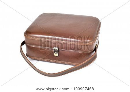 an old square brown leatherette suitcase on a white background