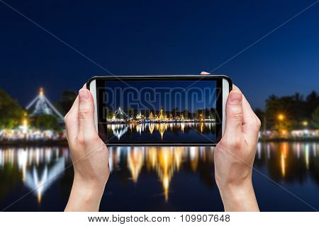 Hand Taking Photo At Wat Chong Klang And Wat Chong Kham At Mae Hong Son, Northern Thailand