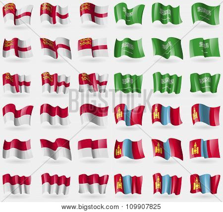 Sark, Saudi Arabia, Indonesia, Mongolia. Set Of 36 Flags Of The Countries Of The World.