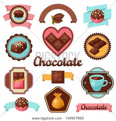 Chocolate set of badges and labels with various tasty sweets