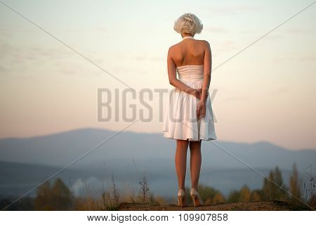 Woman In White Dress Outdoor