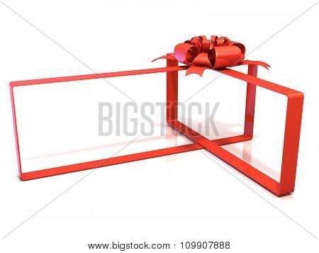 Festive gift ribbon and bow box shaped 3D rendering