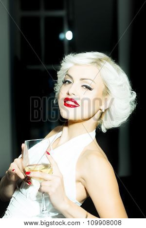 Sexual Blonde With Wine