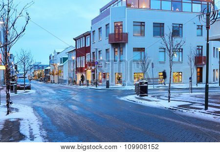 Street in the center of Reykjavik at dusk in the winter, Iceland.
