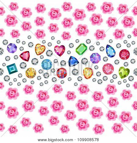 Seamless Scattered Gems, Rhinestones, Pearls & Roses Isolated On Blue Background