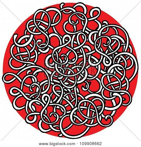Round stylized ornament with curly lines. Black and white bows on red background.