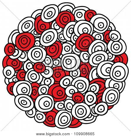 Round stylized ornament with doodle concentric circles and dots. Black, white and red pattern background.