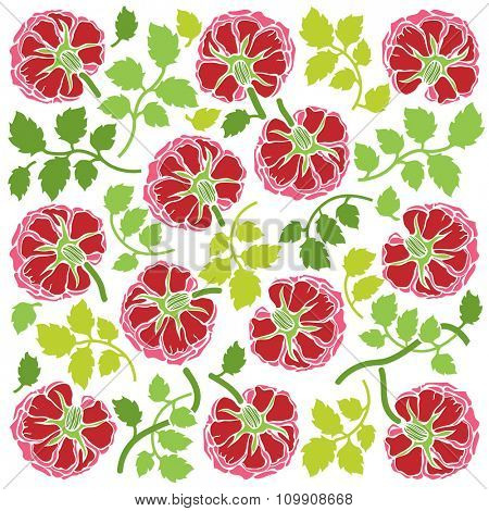 Floral ornament with rose flowers and leaves. Rose decoration in red and green colors on white background. Square pattern.