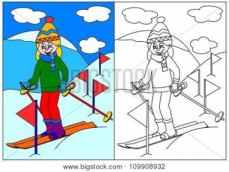 Girl Skiing In The Mountains - A Coloring Book For Young Children