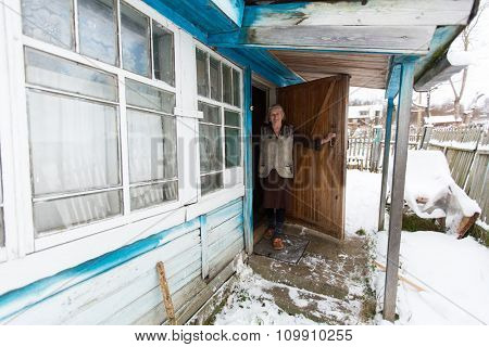 VINNITSY, RUSSIA - NOV 30, 2015: Elderly woman Veps - small Finno-Ugric peoples living on the territory of Leningrad region in Russia. According to the 2002 census, there were 8,240 Veps in Russia.