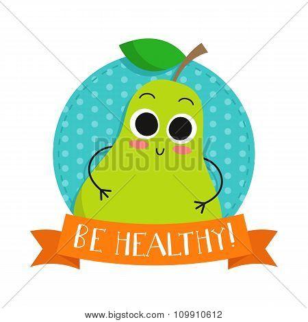 Pear, Cute Fruit Vector Character Bagde