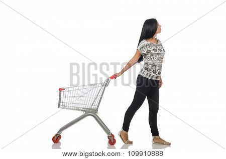 Woman in shopping concept on white
