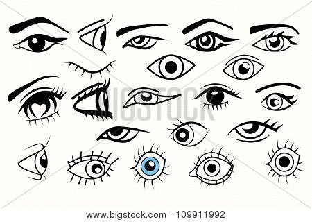 Collection of eyes different of eyes for designs over white background.
