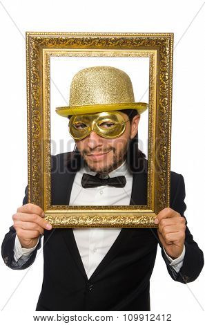 Funny man with picture frame on white