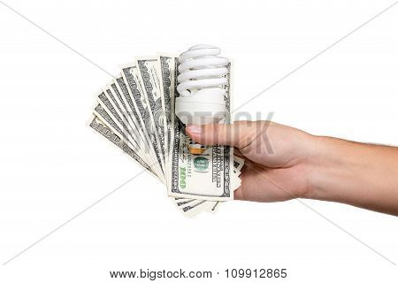 Saving Energy Bulb With Money