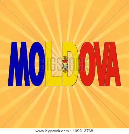 Moldova flag text with sunburst illustration