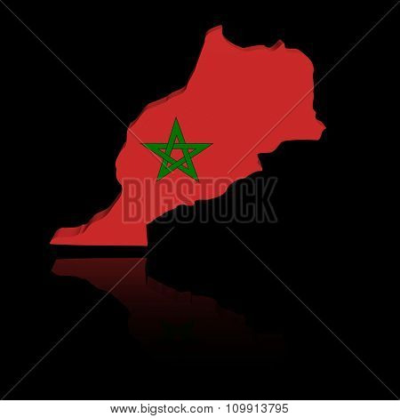 Morocco map flag with reflection illustration