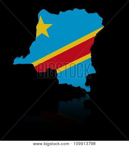Democratic Republic Congo map flag with reflection illustration