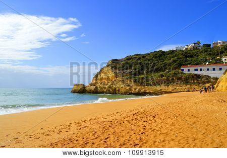 Tourists enjoying Benagil Beach in Portugal