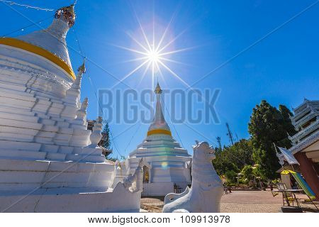 White Unique Pagoda In Wat Phra That Doi Gongmoo Landmark Of Maehongson, Thailand.
