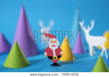 Merry Christmas Greeting Card Paper Cut Santa Deer