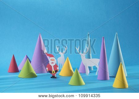 Christmas 3D Paper Cut Handmade Santa Color Card