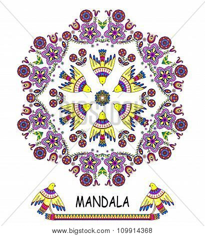 Greeting card with birds and flowers.Vector mandala. Round pattern for your design,floral ornament.