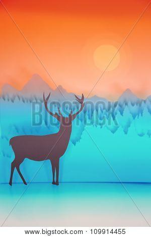 Paper Cut Handmade Winter Deer Holiday Card Sunset